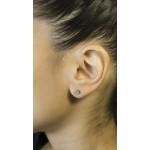 Jt Silver Pink Zirconia Solitaire Stud Earrings 4mm