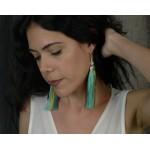 Jt Ασημένια μακριά σκουλαρίκια Boho πράσινες φούντες