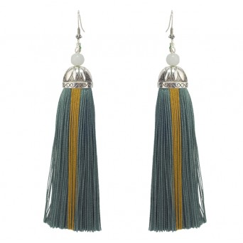 Jt Silver Boho Chandelier Green Tassel Earrings