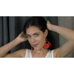 Jt Ασημένια κόκκινα σκουλαρίκια Boho κοράλι με φούντες μετάξι