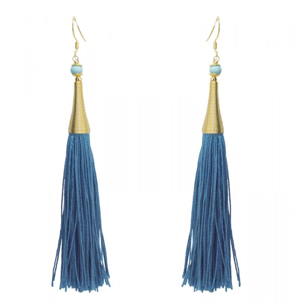 Jt Silver Boho Chandelier Blue Tassel Earrings
