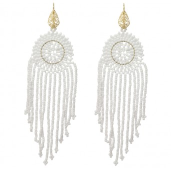 Jt Silver Chandelier White Beaded Boho Earrings