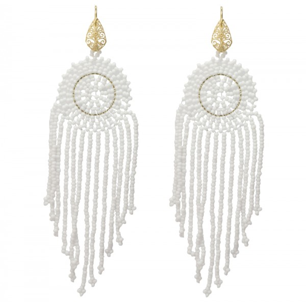 Jt Silver Chandelier White Beaded Boho Earrings