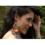 Jt Ασημένια σκουλαρίκια Boho μέλισσα με φούντες