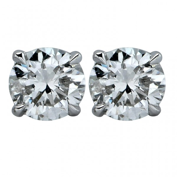 Jt Silver Big White Zirconia Solitaire Stud Men's Earrings 8mm