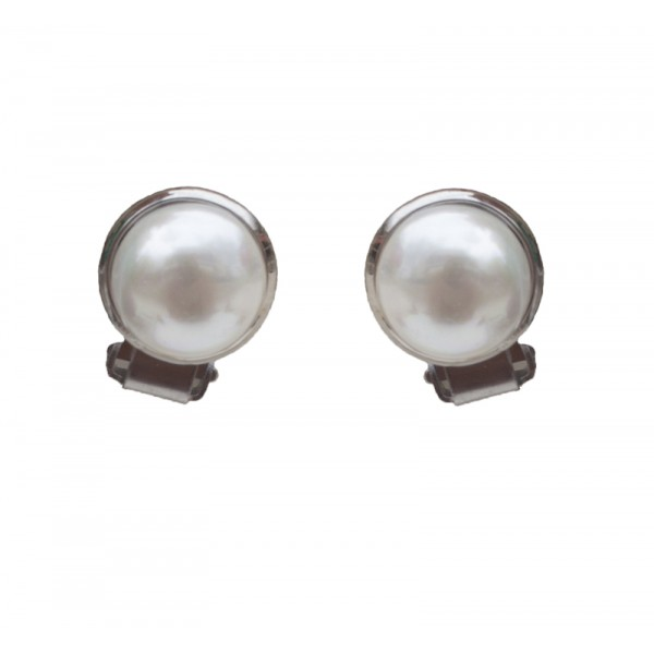 Jt White Shell Pearls Clip Earrings
