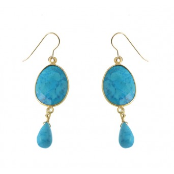 Jt Turquoise and Swarovski silver hook earrings