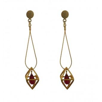 Jt Silver Geometric rhombus earrings with Swarovski