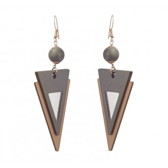 Jt Rose Gold Silver Triangle Boho Earrings with Agate