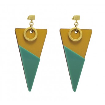 Jt Gold Plated Silver Wooden Triangle Boho Earrings