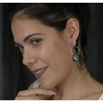 Jt Ασημένια έθνικ σκουλαρίκια κύκλος με τιρκουάζ