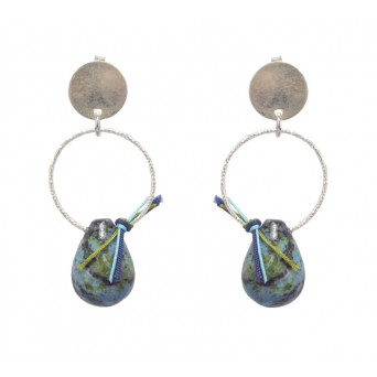 Jt Silver Circle Boho Drop Earrings with Turquoise