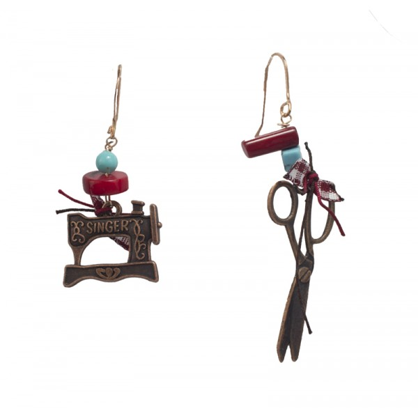 Jt Silver Singer Sewing Machine and Scissors Earrings