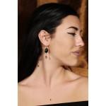 Jt Οnyx and Swarovski silver hook earrings