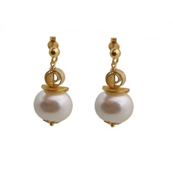 Jt White shell pearls and Swarovski silver hook earrings
