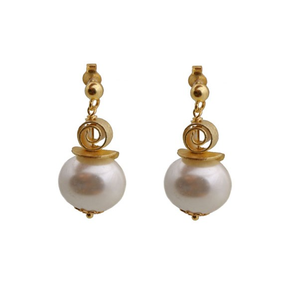 Jt White shell pearls gold plated silver earrings