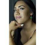 Jt Ασημένια σκουλαρίκια δάκρυ πράσινος αχάτης & Swarovski