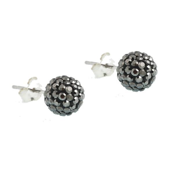 Jt Silver  Grey Swarovski Crystal Ball Stud Earrings