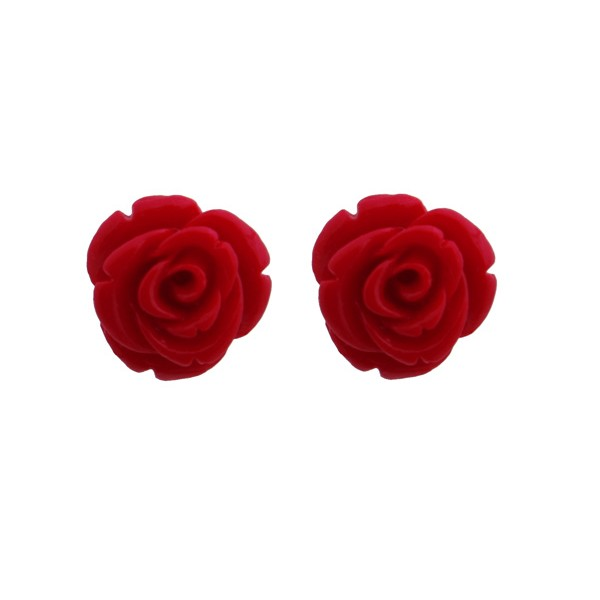Jt Silver Red Coral Rose Flower Stud Earrings