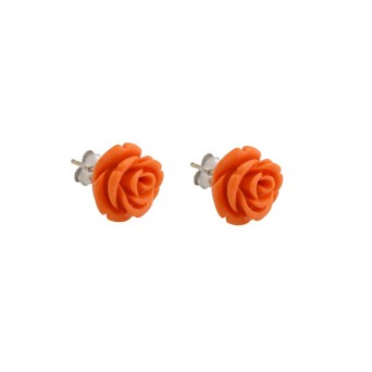 Jt Silver Coral Rose Flower Stud Earrings