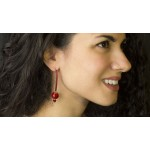 Jt Ασημένια σκουλαρίκια γάντζοι με κόκκινο κοράλλι