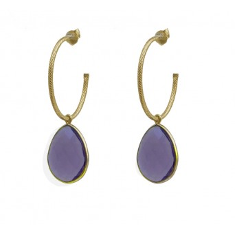Jt Gold plated silver purple quartz hoop earrings