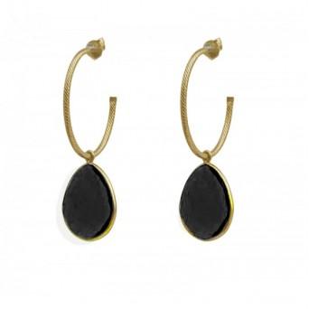 Jt Ασημένια σκουλαρίκια κρίκοι με μαύρο όνυχα