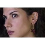 Jt Ασημένια σκουλαρίκια κρίκοι χρυσοί δάκρυ ρουμπινί χαλαζίας