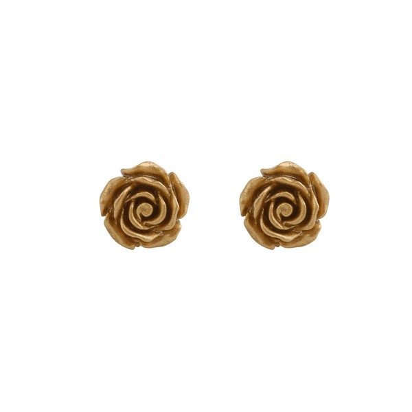 Jt Silver Golden Flowers Stud Earrings