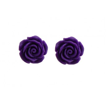 Jt Silver Purple Flowers Stud Earrings