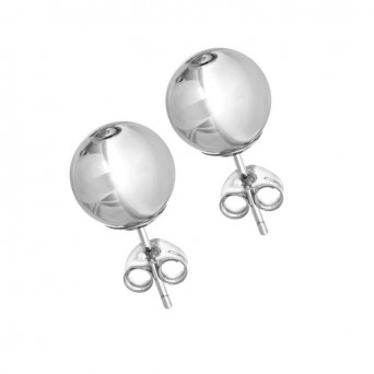 VFJ Sterling Silver Earrings Ball 8mm