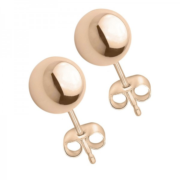 VFJ Rose Gold-plated Silver Earrings Ball 8mm