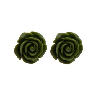 Jt Silver Green Flowers Stud Earrings