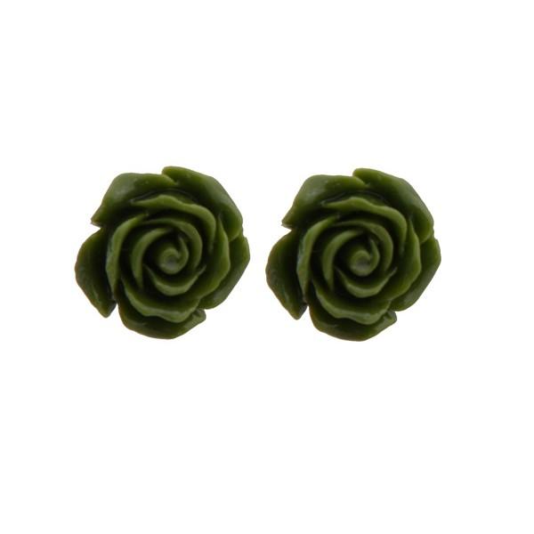 Jt Silver Green Flowers Stud Earrings