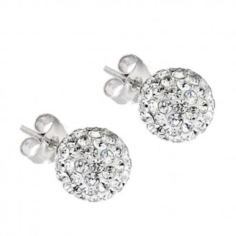 Jt Silver White Swarovski Crystal Ball Stud Earrings