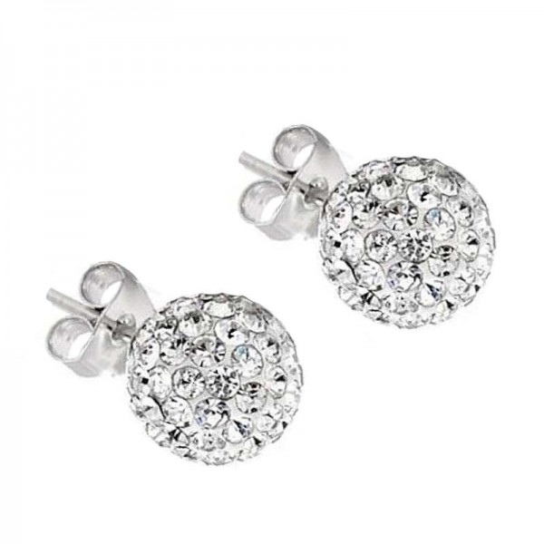 Jt Silver White Swarovski Crystal Ball Stud Earrings