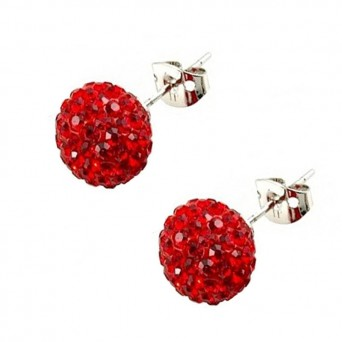 Jt Silver Red Swarovski Crystal Ball Stud Earrings