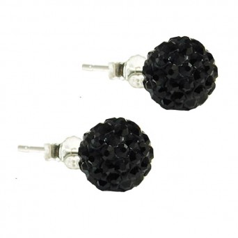 Jt Silver Black Swarovski Crystal Ball Stud Earrings