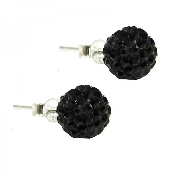 Jt Ασημένια καρφωτά σκουλαρίκια Swarovski μαύρα μπάλα