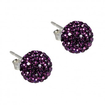 Jt Silver Aubergine Purple Swarovski Crystal Ball Stud Earrings