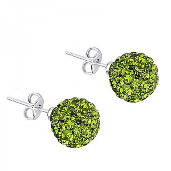 Jt Silver Green Swarovski Crystal Ball Stud Earrings