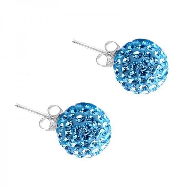 Jt Silver turquoise Swarovski Crystal Ball Stud Earrings