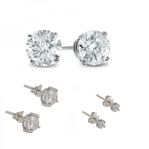 Jt Silver White Zirconia Solitaire Stud Earrings Set