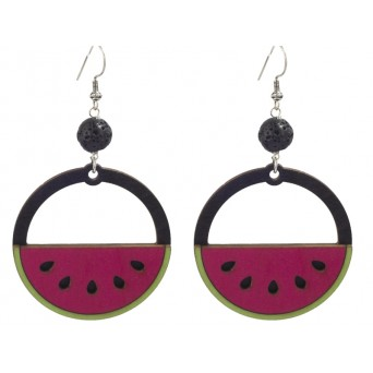 Jt Silver Watermelon Boho Earrings with Lava