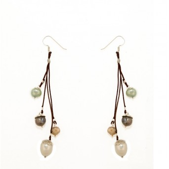 Jt Silver Colorful Pearls Hook Earrings
