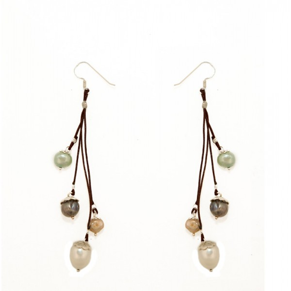 Jt Silver Colorful Pearls Hook Earrings