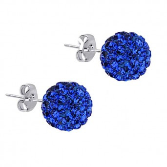 Jt Silver Electric Blue Swarovski Crystal Ball Stud Earrings