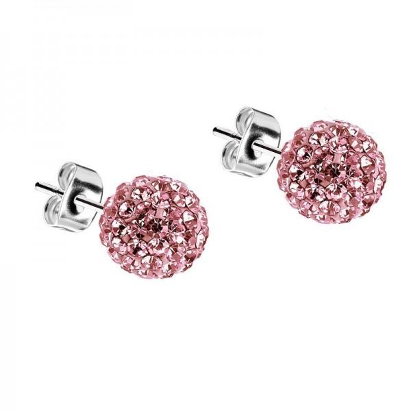 Jt Silver Rose Swarovski Crystal Ball Stud Earrings