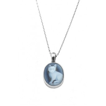Jt Sterling silver cameo cat necklace