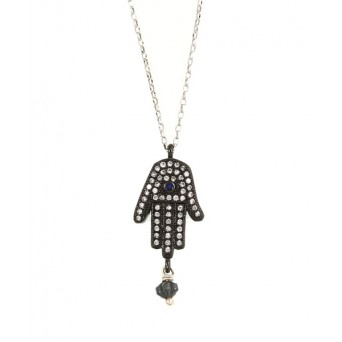 Jt Fatima hand silver alloy necklace with hematite, zirconia